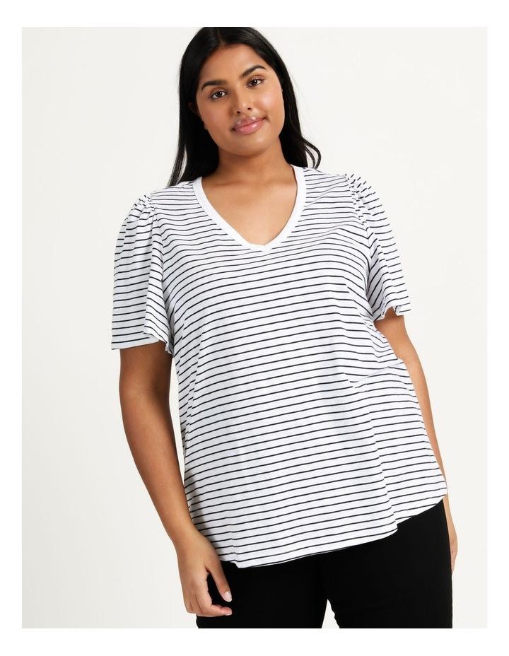 Organic Cotton Flutter Sleeve T-Shirt White/Navy Stripe image 3