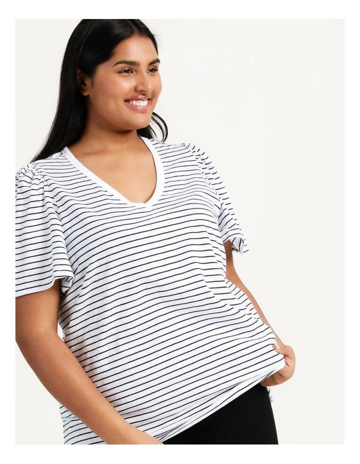 Organic Cotton Flutter Sleeve T-Shirt White/Navy Stripe image 5