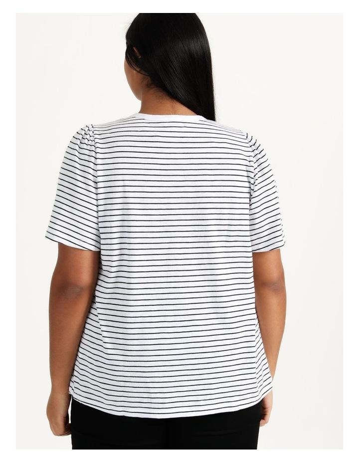 Organic Cotton Flutter Sleeve T-Shirt White/Navy Stripe image 6