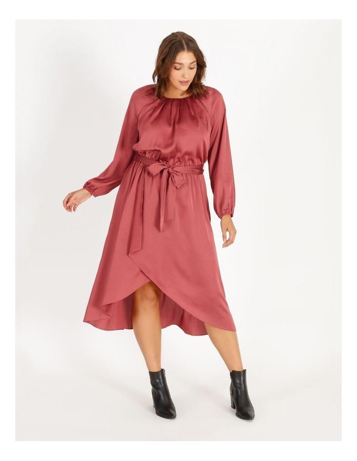Curve Satin Wrap Midi Dress image 1