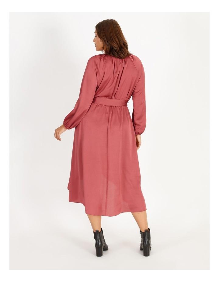 Curve Satin Wrap Midi Dress image 3