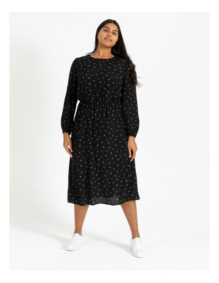 Curve Blouson Sleeve Midi Dress image 1