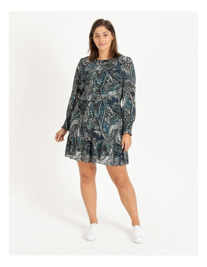 Curve Shirred Long Sleeve Mini Dress image 1