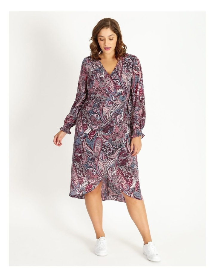 Curve Long Sleeve Wrap Dress image 1
