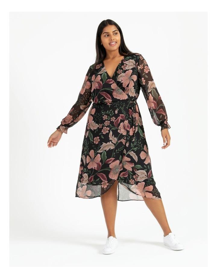Long Sleeve Wrap Midi Dress image 1