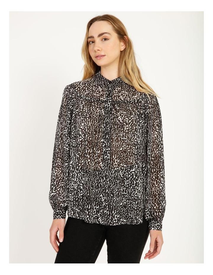 Oversized Long Sleeve Shirt Snow Leopard image 1