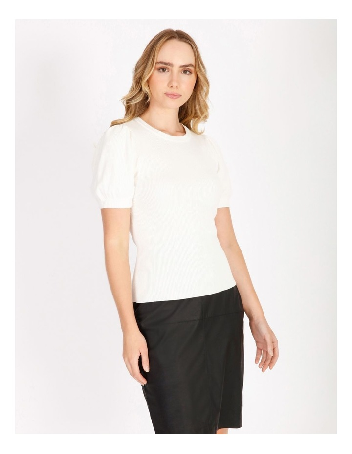 Short Sleeve Puff Knit Top image 1