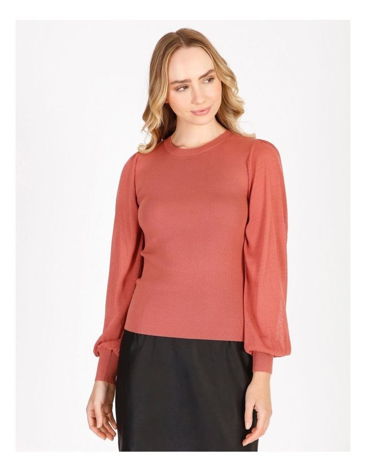 Sheer Sleeve Knitted Top image 1