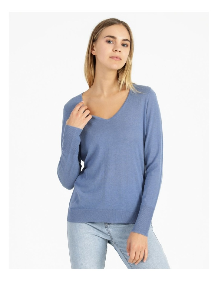 Relaxed V-Neck Wool Blend Knitted Top image 1