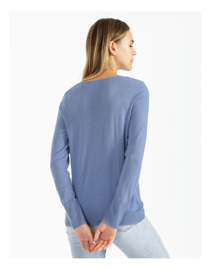Relaxed V-Neck Wool Blend Knitted Top image 3