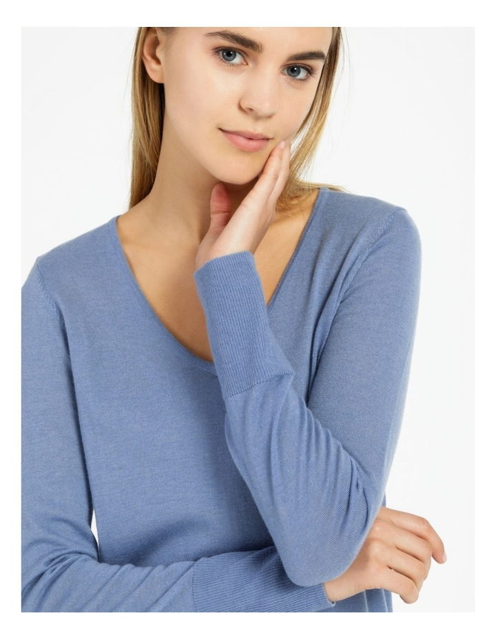 Relaxed V-Neck Wool Blend Knitted Top image 4
