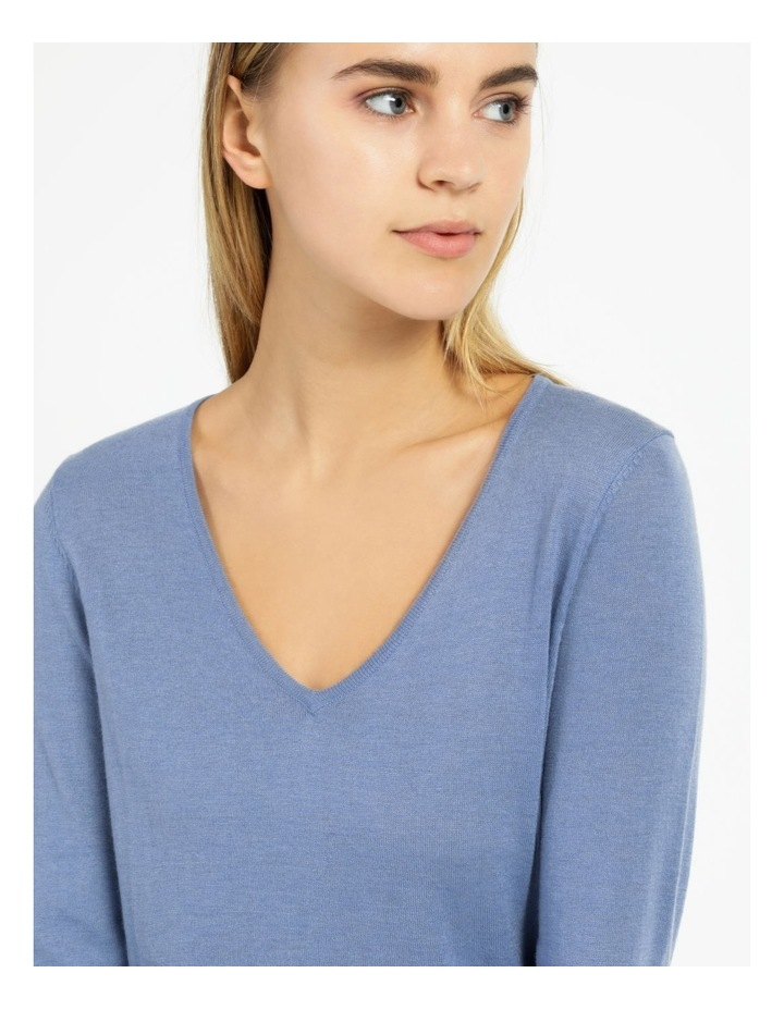 Relaxed V-Neck Wool Blend Knitted Top image 5