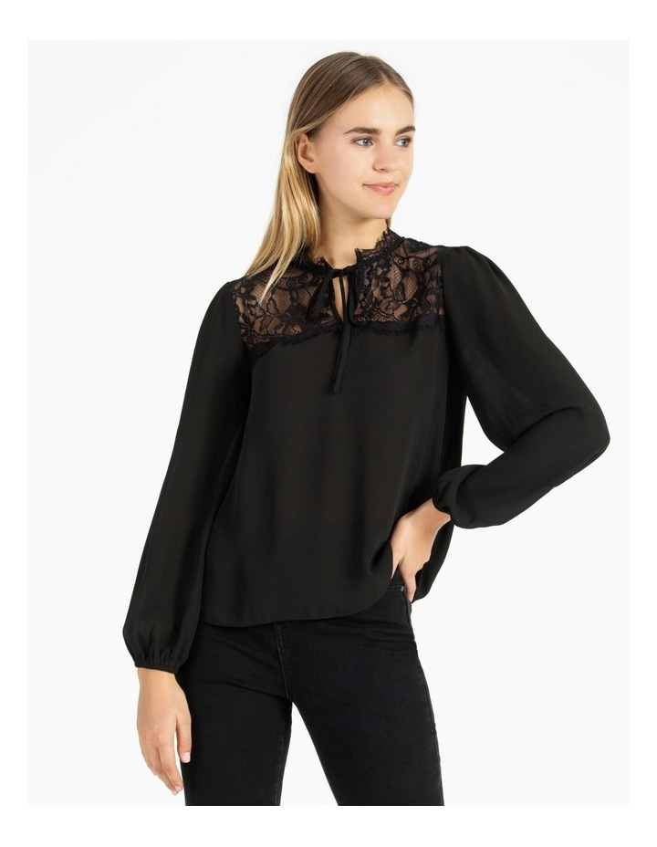 Lace Yoke Blouse With Tie image 1