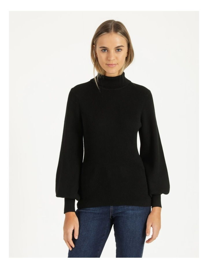 Blouson Sleeve Roll Neck Knitted Top image 2