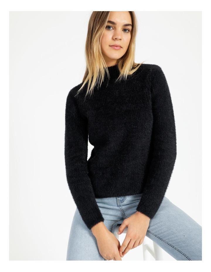 High Neck Soft & Fluffy Knit Top image 1
