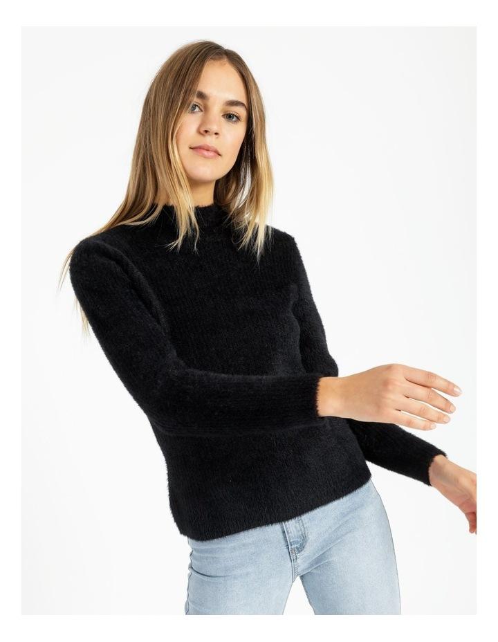 High Neck Soft & Fluffy Knit Top image 2