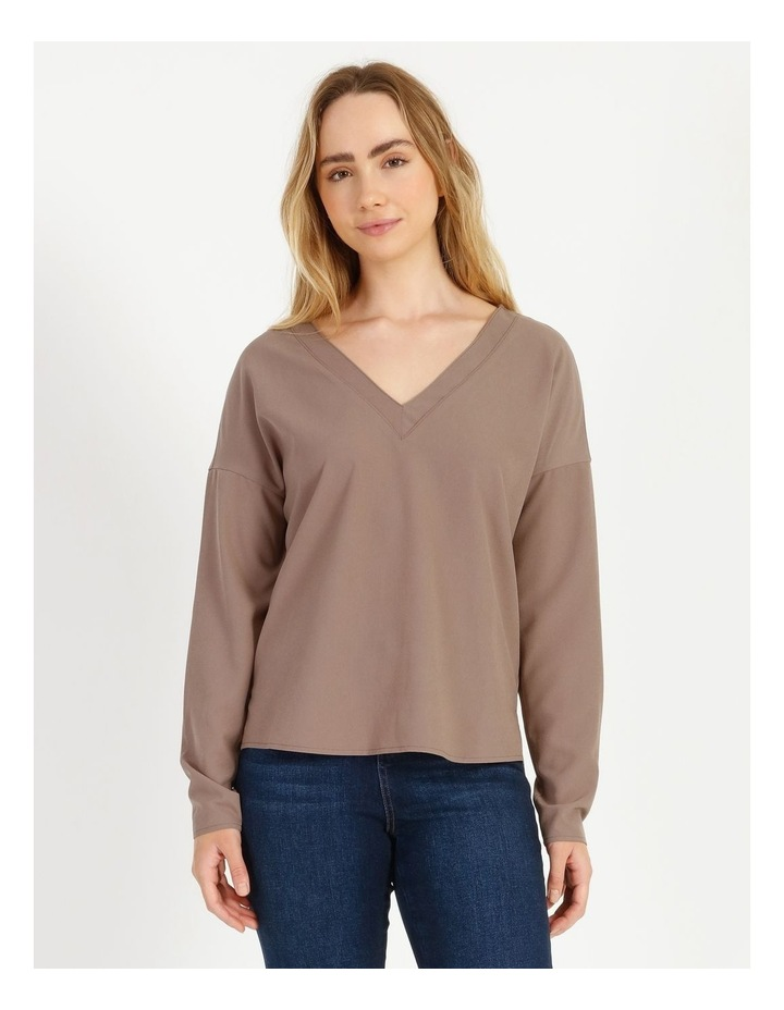 V-Neck Relaxed Jersey Spliced Top image 1