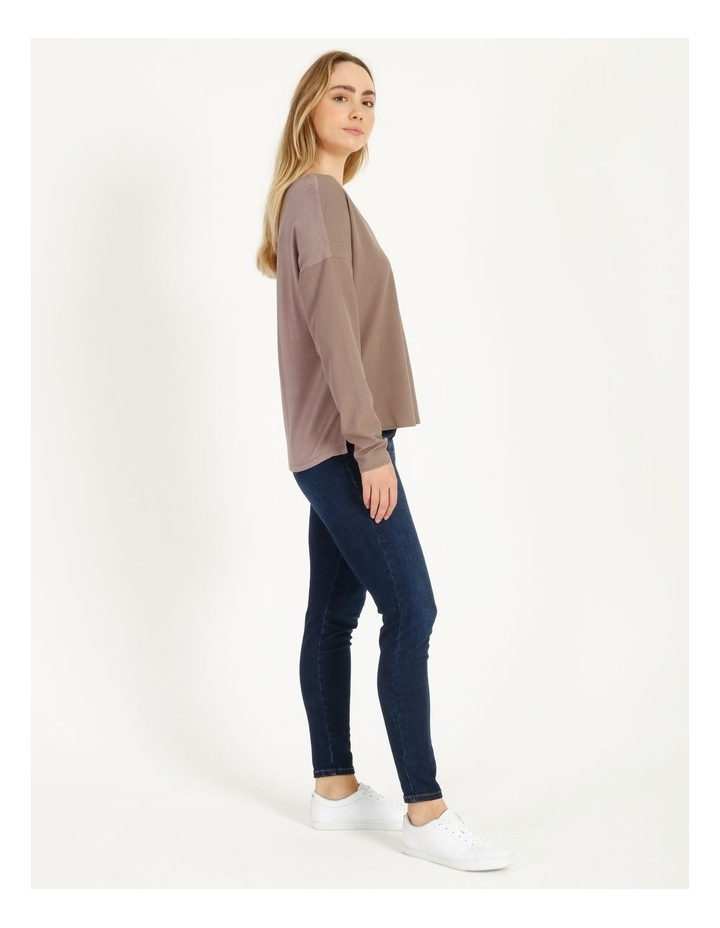 V-Neck Relaxed Jersey Spliced Top image 2