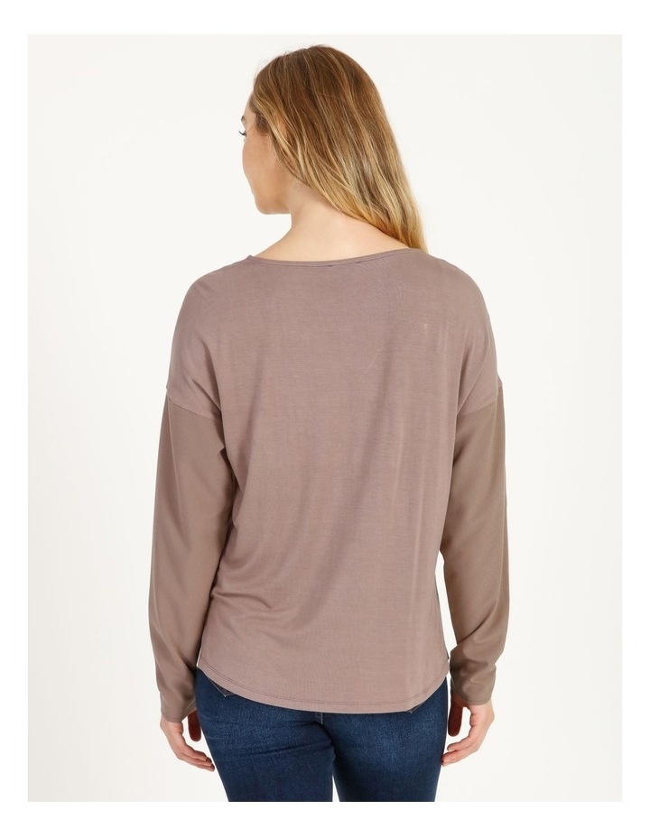 V-Neck Relaxed Jersey Spliced Top image 3