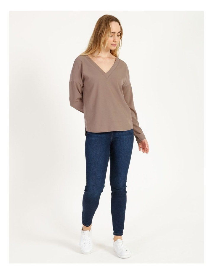 V-Neck Relaxed Jersey Spliced Top image 4