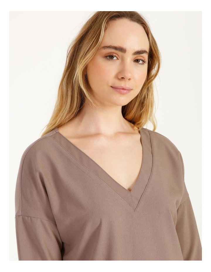 V-Neck Relaxed Jersey Spliced Top image 5