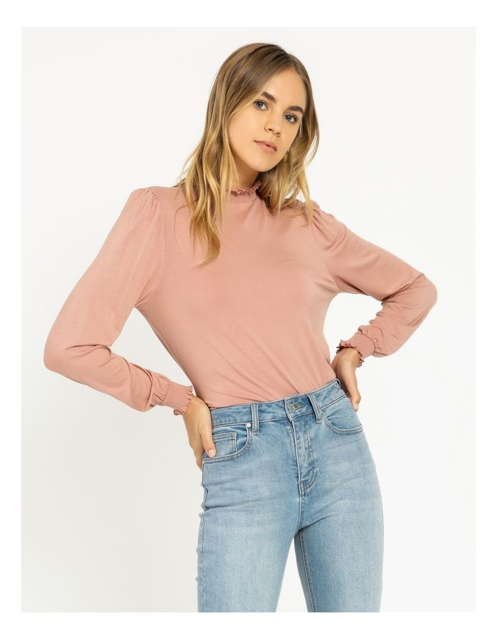 High Neck Shirred Detail Jersey Top image 1