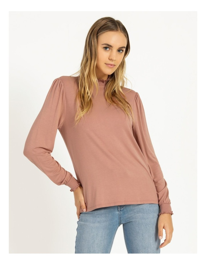 High Neck Shirred Detail Jersey Top image 4