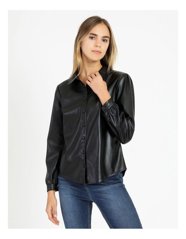 Faux Leather Long Sleeve Shirt Black image 1