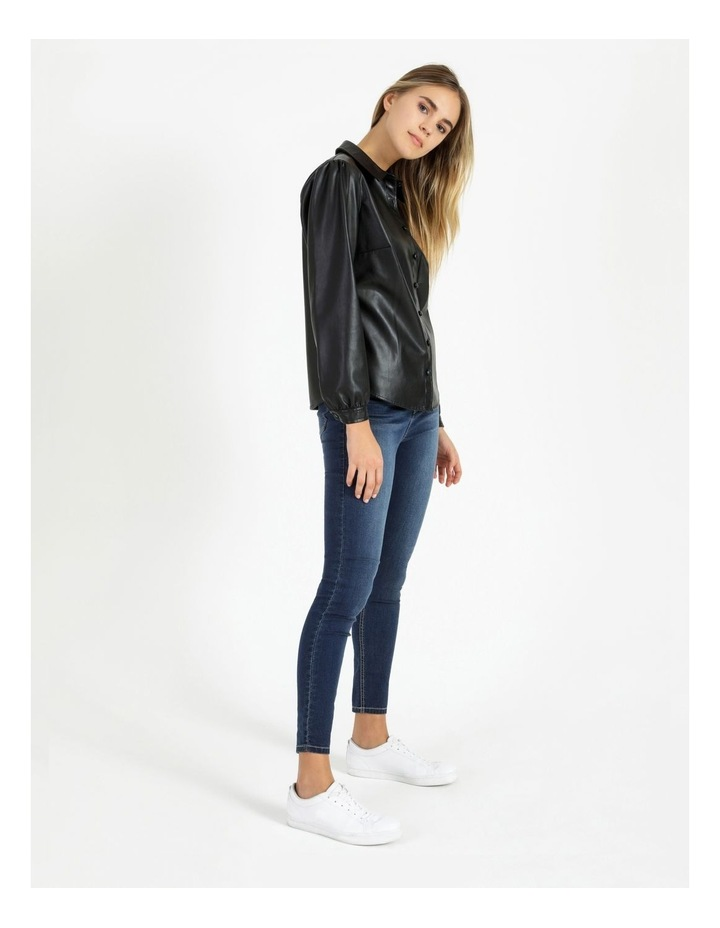 Faux Leather Long Sleeve Shirt Black image 2