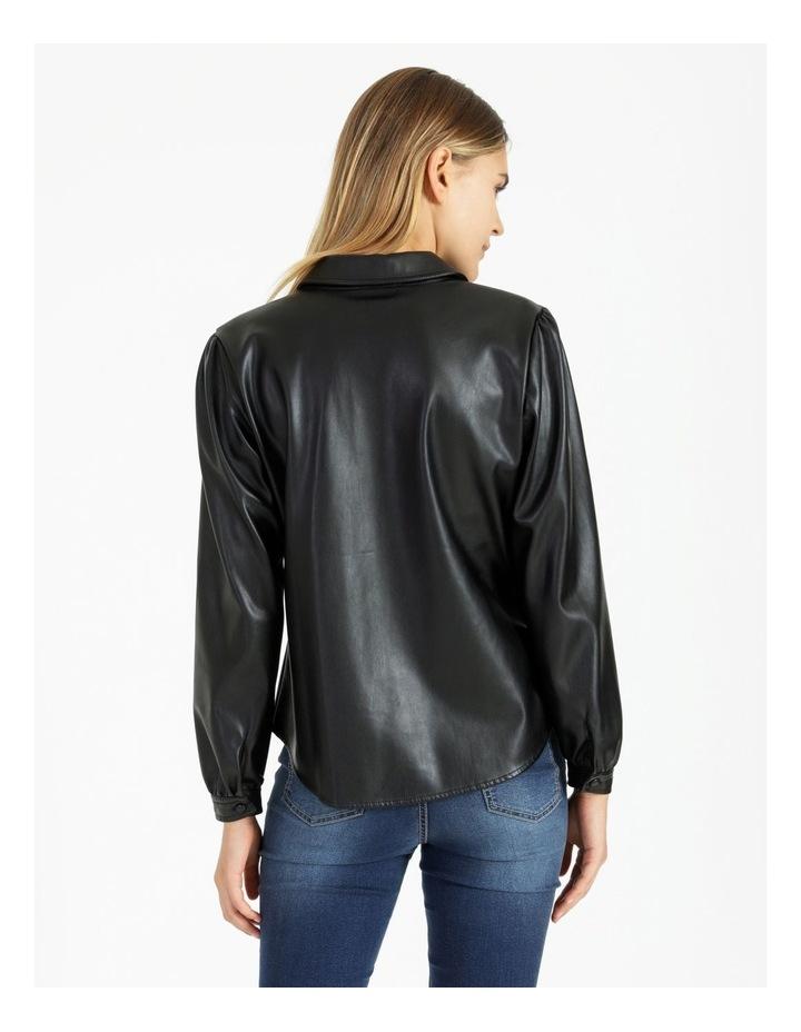 Faux Leather Long Sleeve Shirt Black image 3