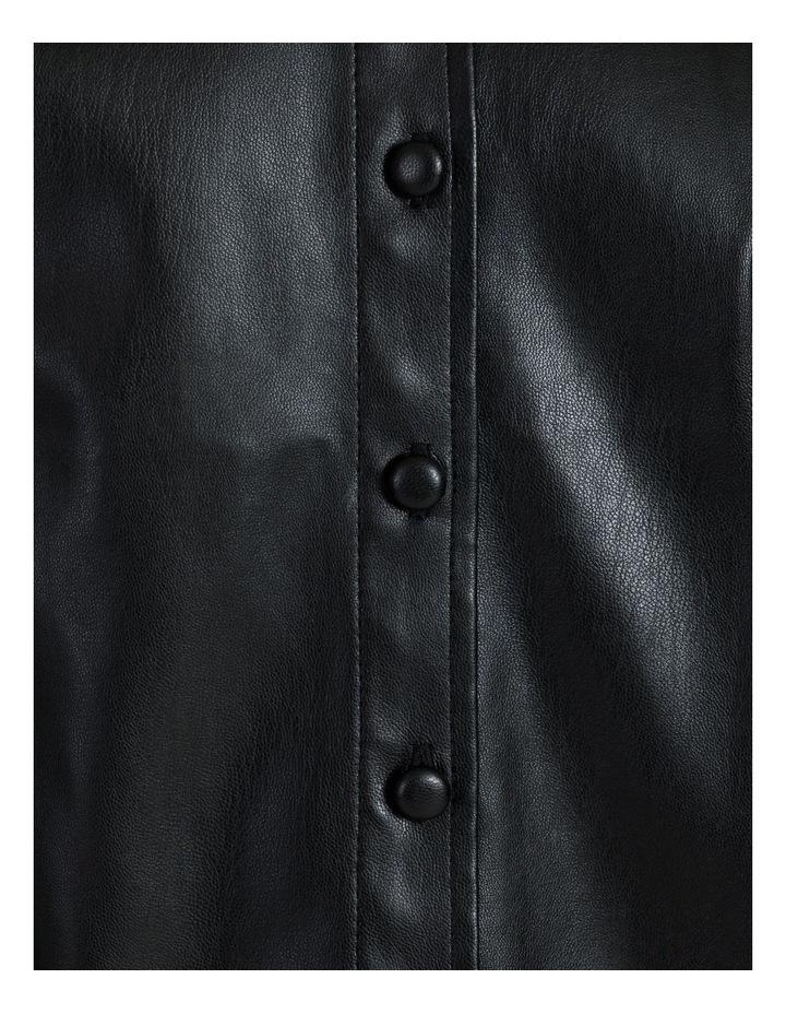 Faux Leather Long Sleeve Shirt Black image 5