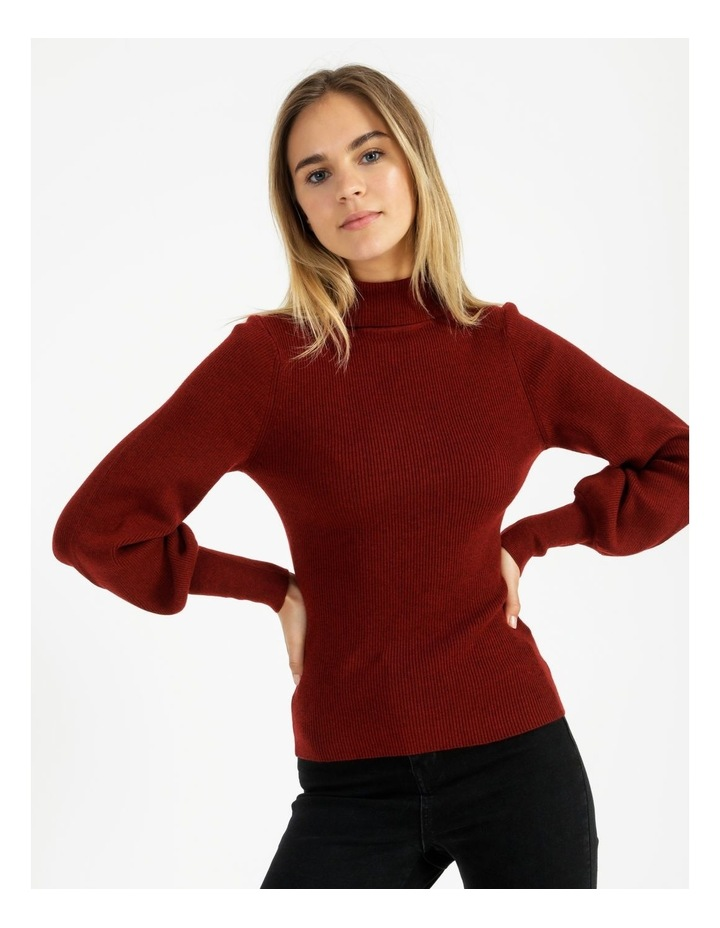 Blouson Sleeve Roll Neck Wool Blend Knitted Top image 2