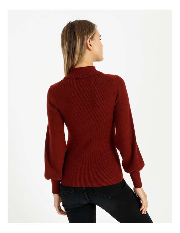 Blouson Sleeve Roll Neck Wool Blend Knitted Top image 4