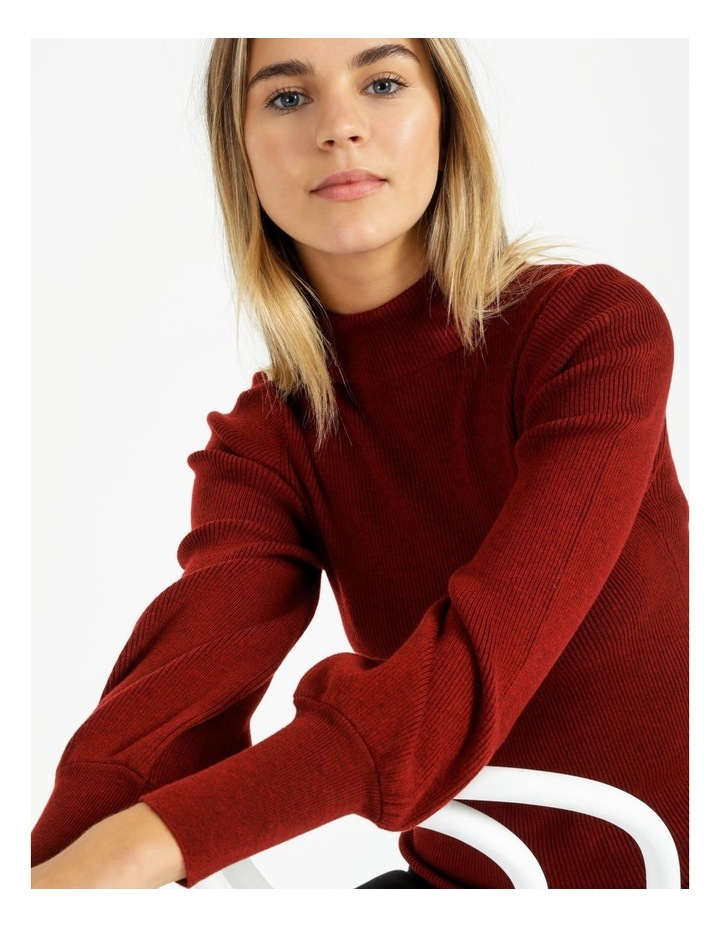 Blouson Sleeve Roll Neck Wool Blend Knitted Top image 5