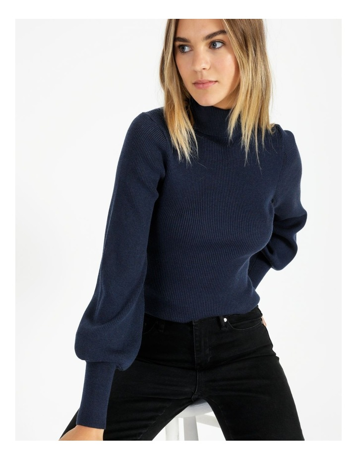 Blouson Sleeve Roll Neck Wool Blend Knitted Top image 1