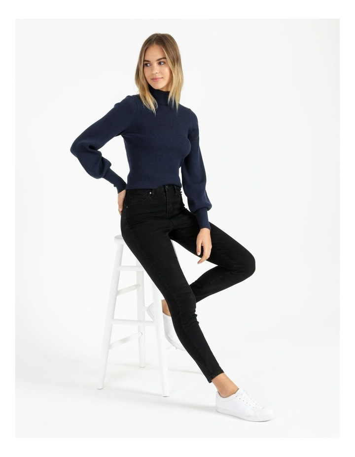 Blouson Sleeve Roll Neck Wool Blend Knitted Top image 3