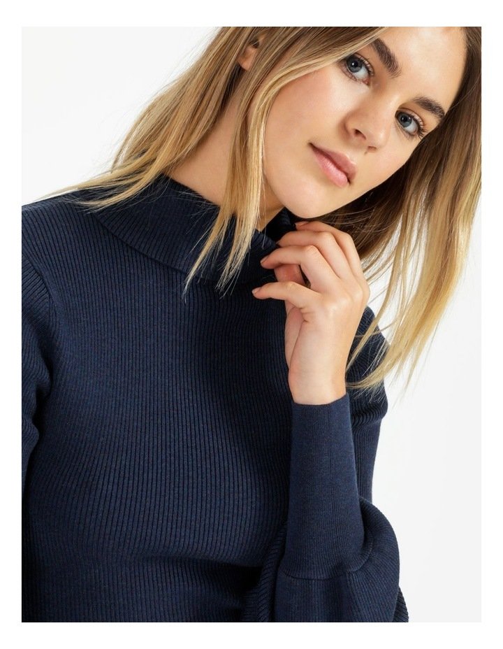 Blouson Sleeve Roll Neck Wool Blend Knitted Top image 6