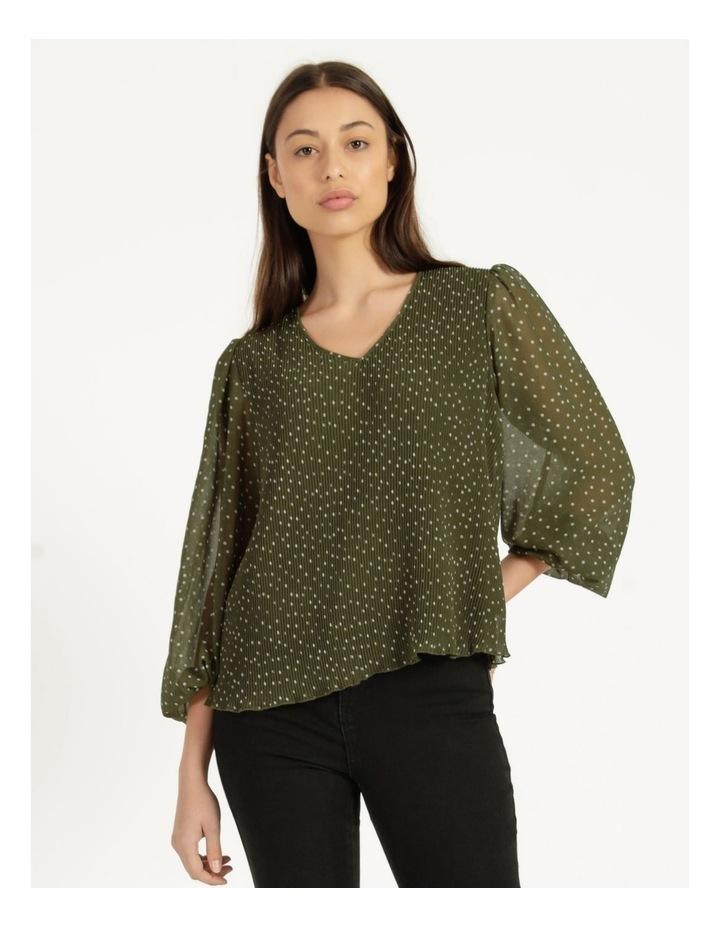 V-Neck Long Sleeve Blouse Khaki image 1
