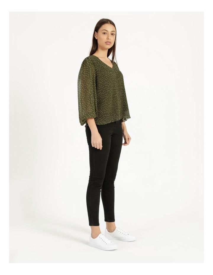 V-Neck Long Sleeve Blouse Khaki image 3