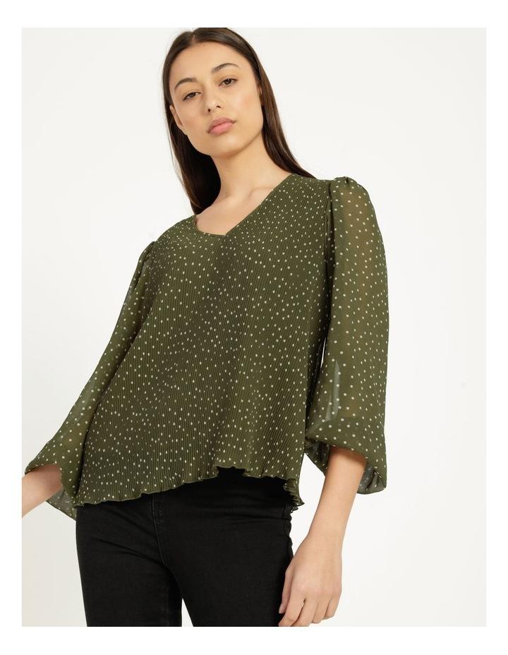 V-Neck Long Sleeve Blouse Khaki image 5