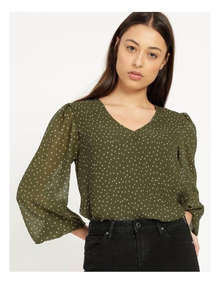 V-Neck Long Sleeve Blouse Khaki image 6