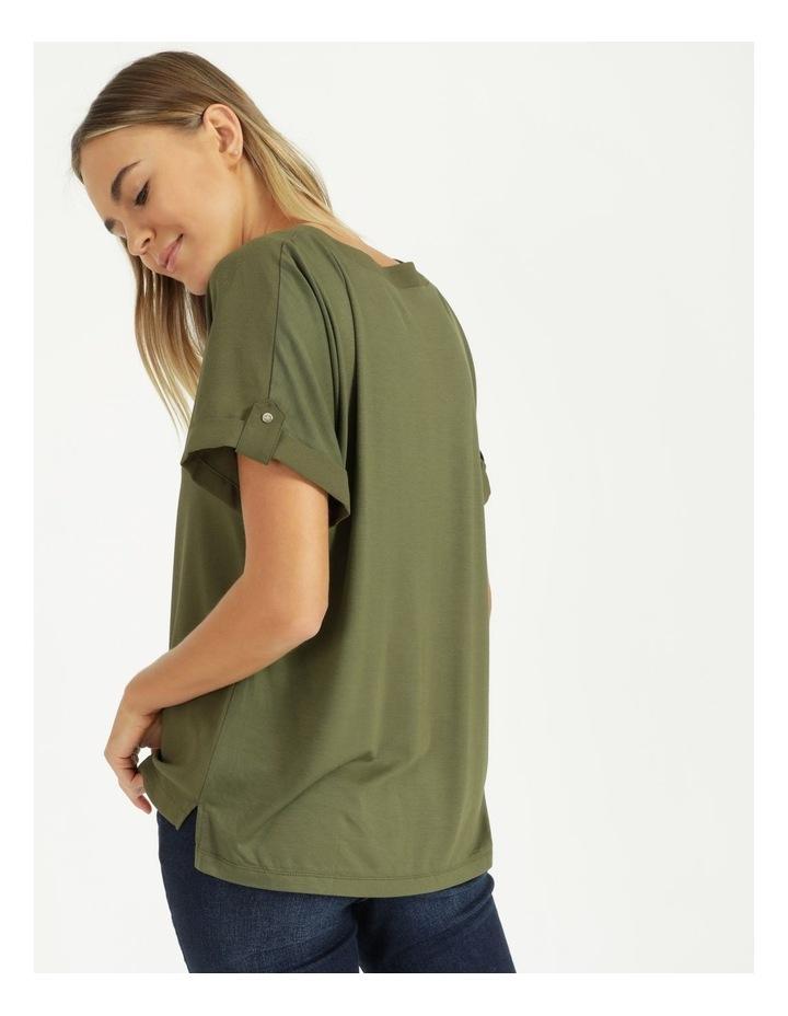 Spliced Sleeve Tab Tee Khaki image 4