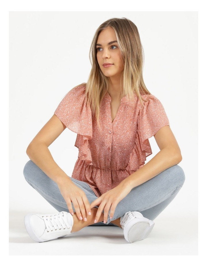 Button Through Flutter Sleeve Top Coral Ditzy image 1