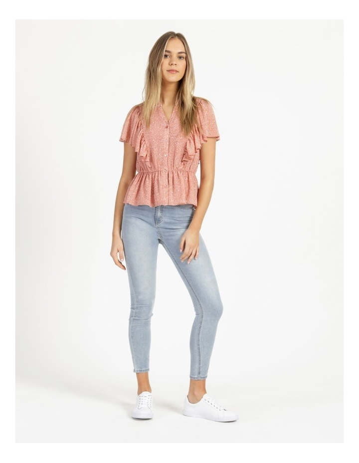Button Through Flutter Sleeve Top Coral Ditzy image 2