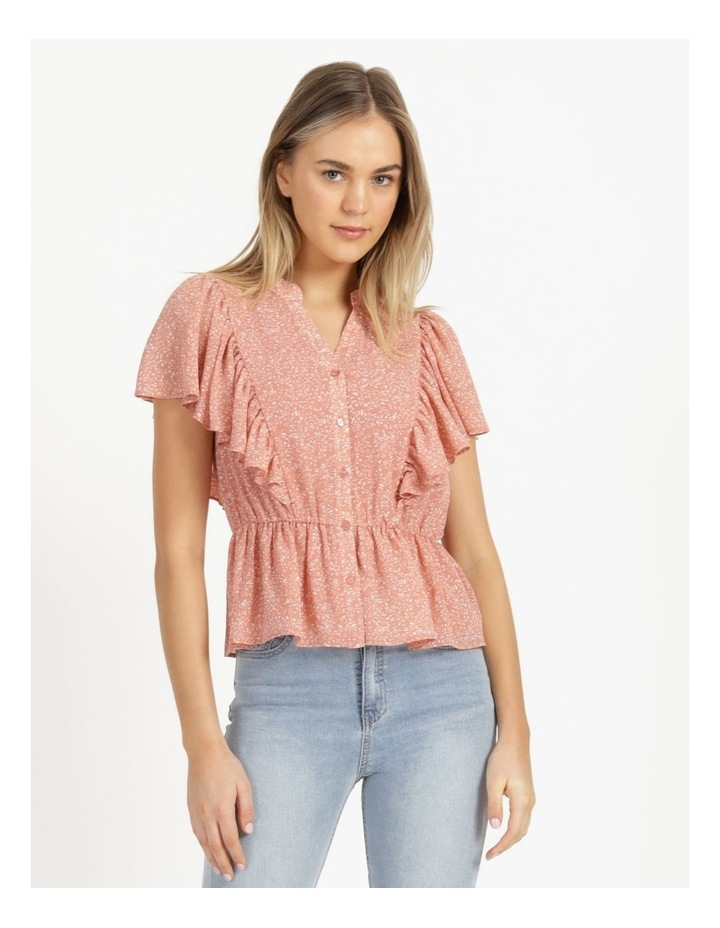 Button Through Flutter Sleeve Top Coral Ditzy image 3