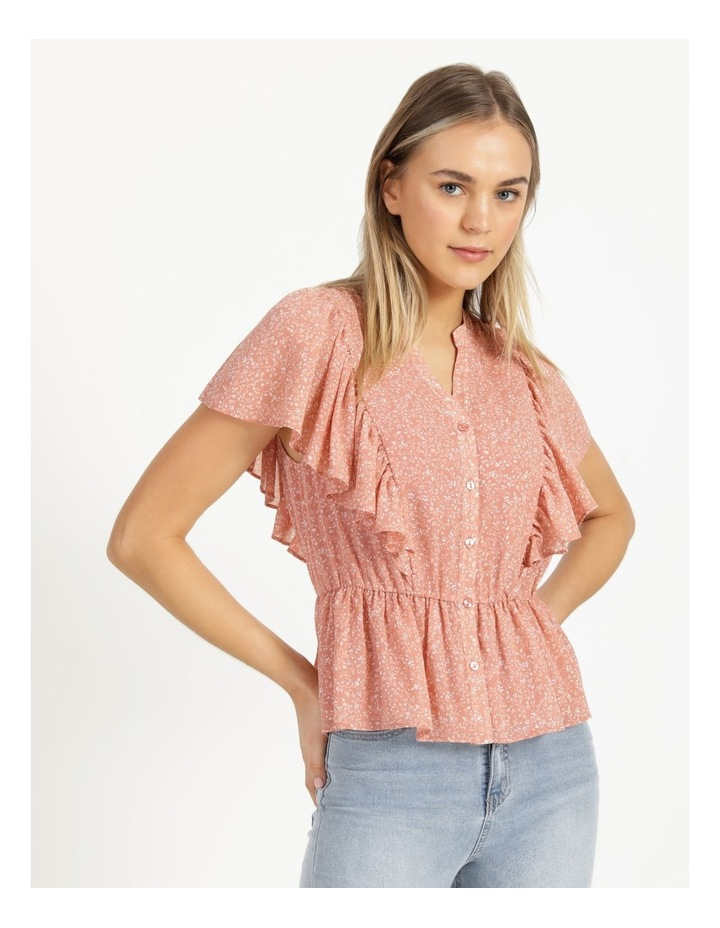 Button Through Flutter Sleeve Top Coral Ditzy image 4