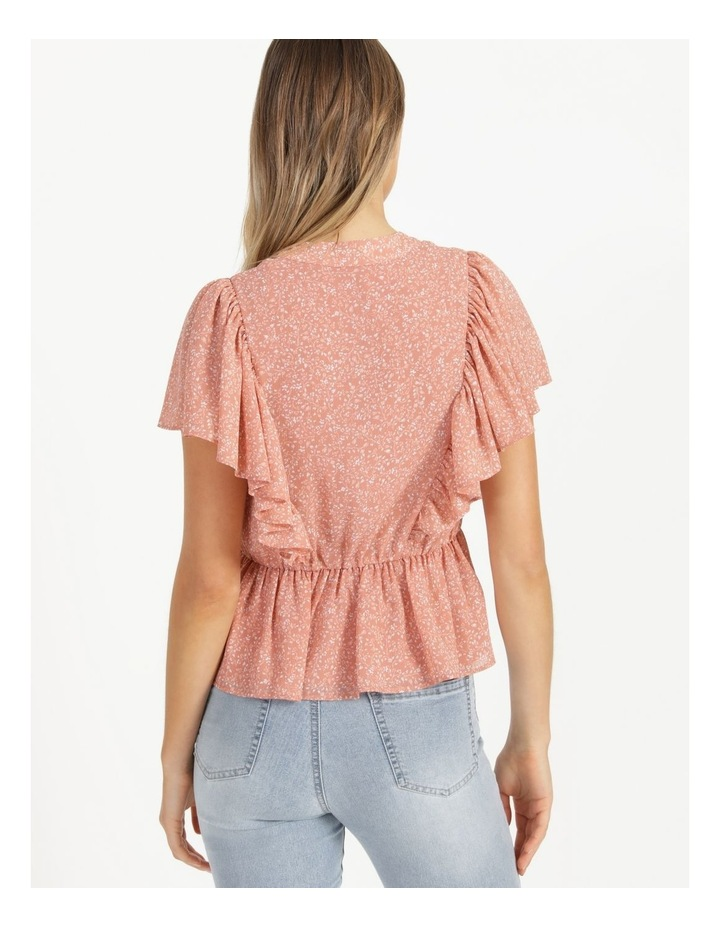 Button Through Flutter Sleeve Top Coral Ditzy image 5