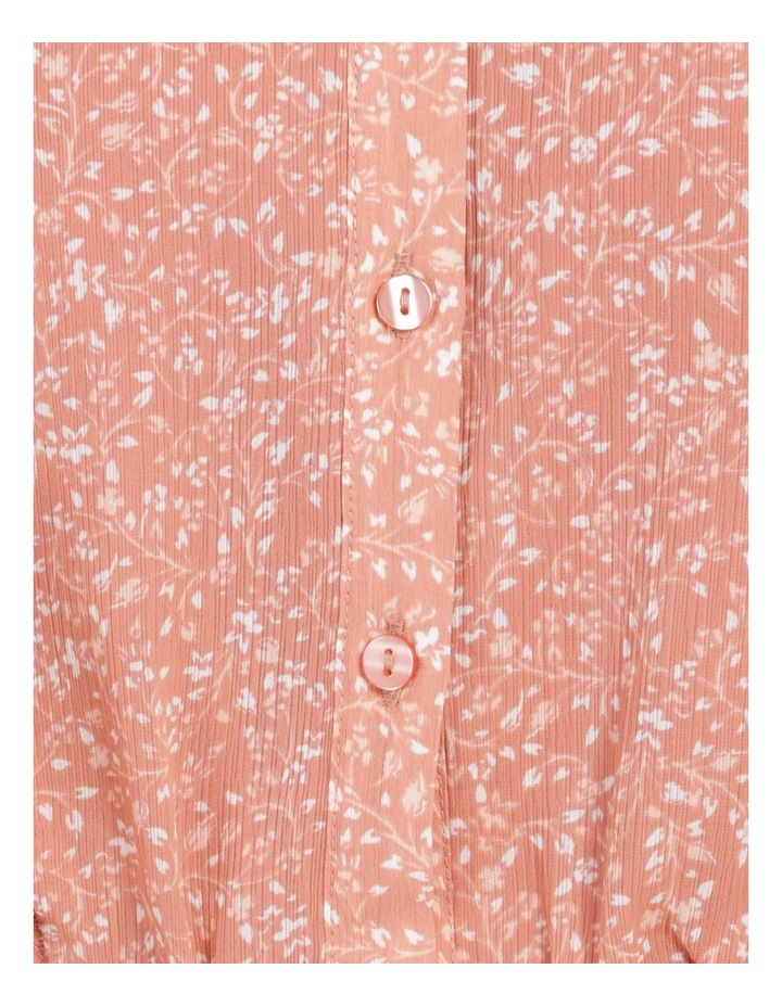 Button Through Flutter Sleeve Top Coral Ditzy image 7