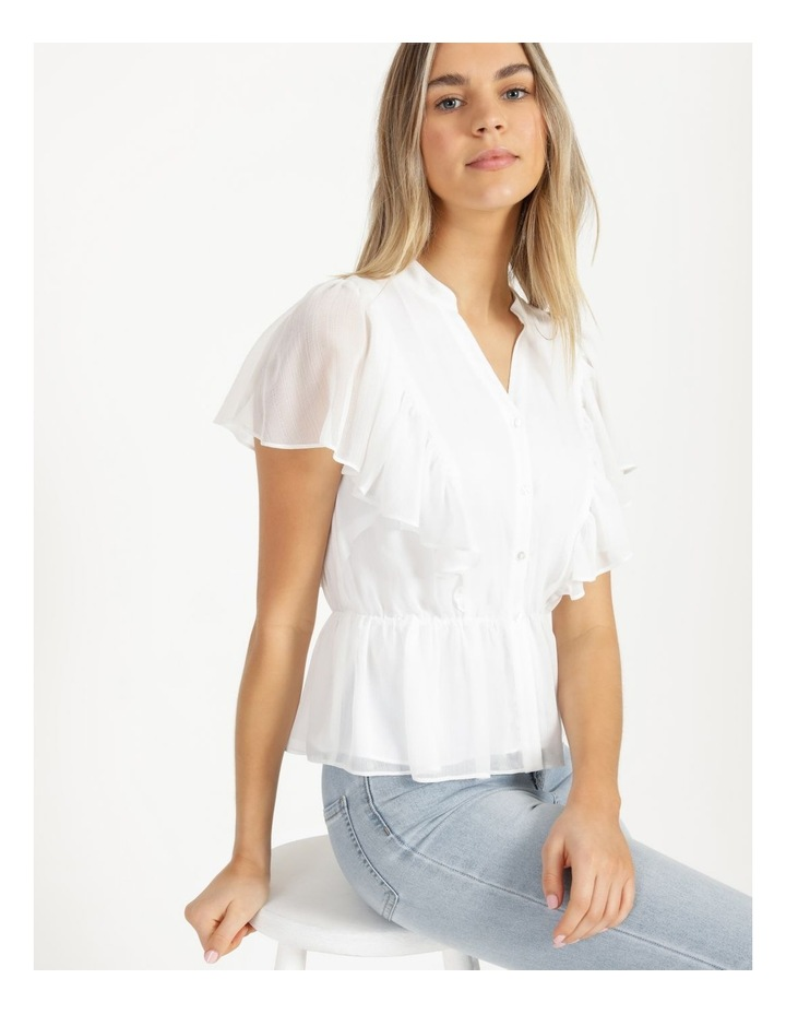 Button Through Flutter Sleeve Top White image 1