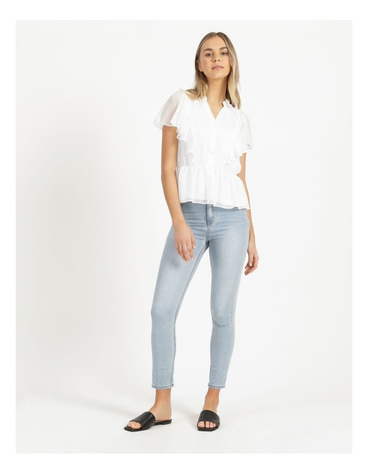 Button Through Flutter Sleeve Top White image 2
